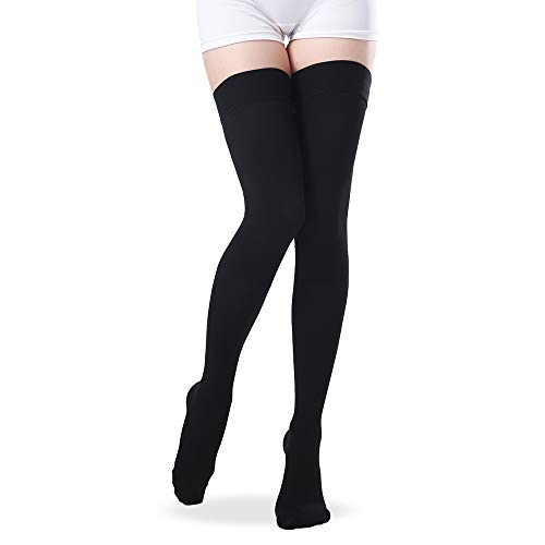 (Thigh High Closed Toe Compression Stockings, 20-30 mmHg Gradient Compression Socks with Silicone Band for Women & Men - Medical Travel Pregnancy Nursing Firm Support Hose (Black, Medium))