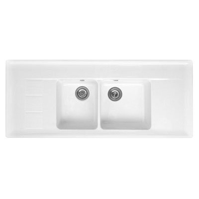 Double Bowl Double Drainer Ceramic Sink: Amazon.co.uk: Kitchen & Home