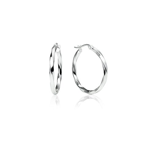 LOVVE Sterling Silver High Polished Twist Round Click-Top 1 Inch Hoop Earrings, 2x25mm (Two Polished High Metal)