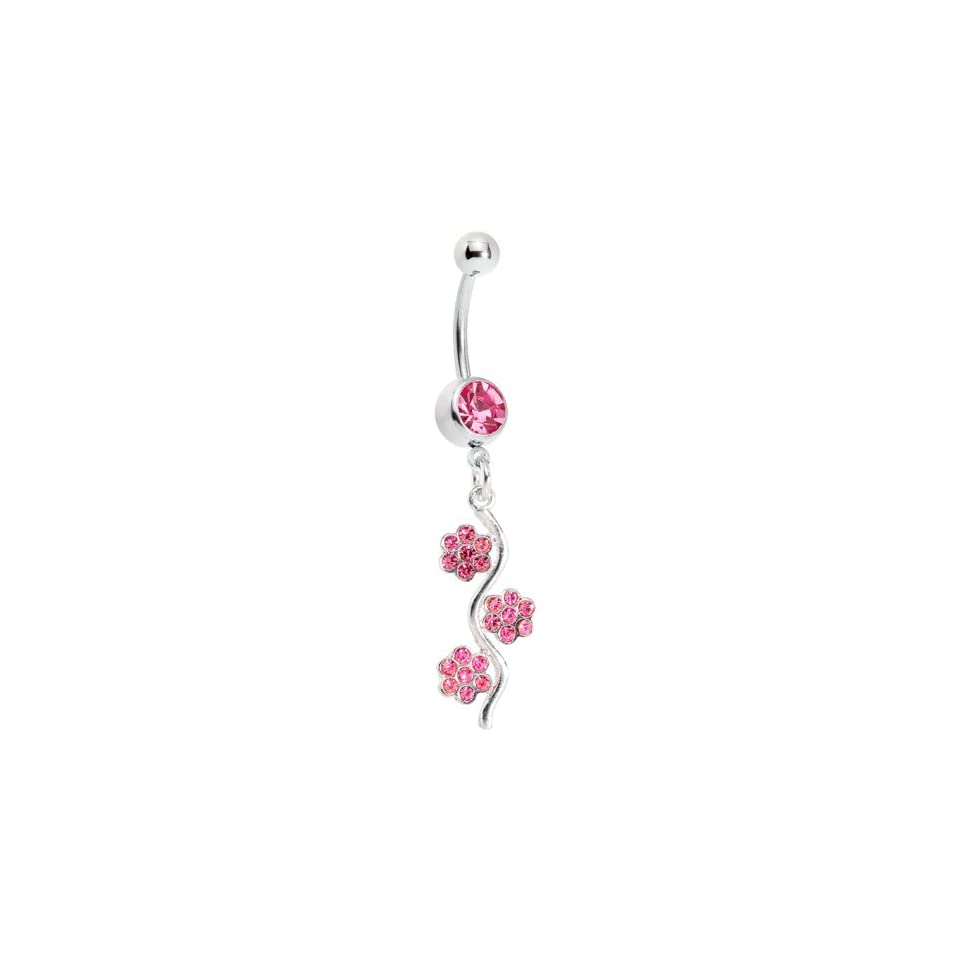 Passion Pink Gem Flower Vine Belly Ring