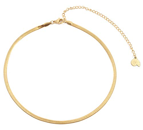 Happiness Boutique Herringbone Choker Necklace in Gold Color   Delicate Necklace Stainless Steel from Happiness Boutique
