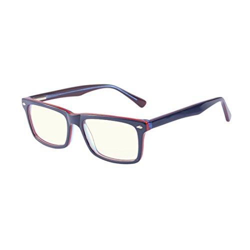 Computer Glasses-Anti-reflective,Anti-glare,Clear Lens,Acetate (BLUE/RED - Glasses Glare Clear Anti