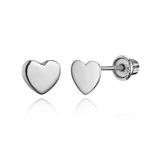 14k White Gold Plain Heart Children Screwback Baby Girls Stud Earrings