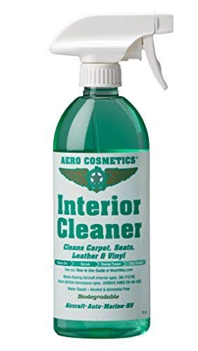 Interior Cleaner, Carpet Cleaner, Seat Cleaner, Fabric Cleaner, Cleans Carpets, Seats, Leather, Upholstery and Vinyl, Aircraft Quality for your Car Boat RV Meets Boeing and Airbus Specs 16oz
