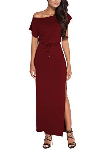 Meenew Women's Maxi Cotton Dress Belted Off Shoulder High Slit Long Dress Ruby S (Ruby Belted Belt)