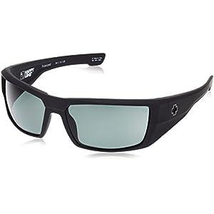 Spy Optic Dirk Polarized Wrap Sunglasses, Soft Matte Black/Happy Gray/Green Polar, 64 mm