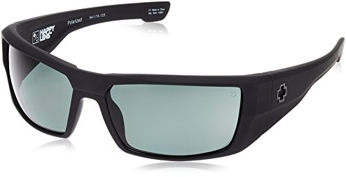 Spy Optic Dirk Polarized Wrap Sunglasses, Soft Matte Black/Happy Gray/Green Polar, 64 - Spy Sunglasses Green