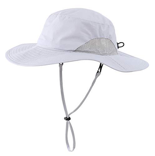 Home Prefer Toddler Boys Sun Hat UPF 50+ Kids Safari Hat Lightweight Wide Brim Summer Outdoor Play Hat Light Gray