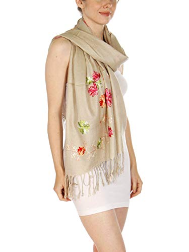 Paisley Embroidery - Soft Pashmina Shawl Wrap for Women, Floral Embroidery Paisley Jacquard Large Size Stole, Khaki