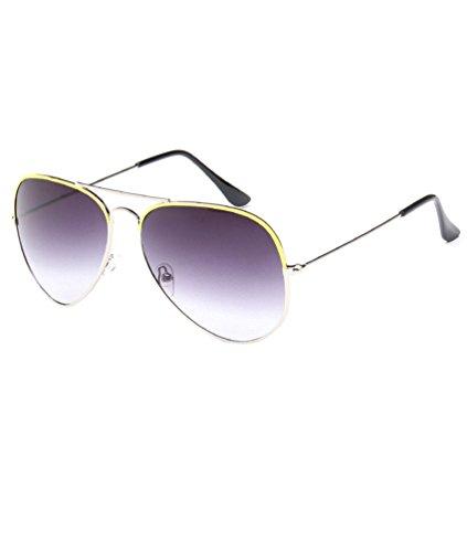 MissFox Sol Hombre Sunglasses Piloto Gafas Vintage única y Talla Lente Amarillo Retro Mujer de para UV400 wrwqEg8S