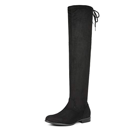 DREAM PAIRS Women's OVERIDE Black Low Heel Thigh High Over The Knee Flat Boots Size 7 B(M) US