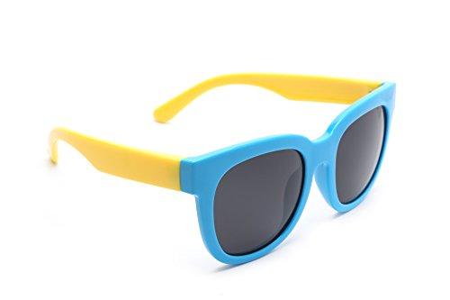 TIJN Kids Super Flex Rubber Polaried Wayfarer Sunglasses for Boys - Brands Best Sunglasses Wayfarer