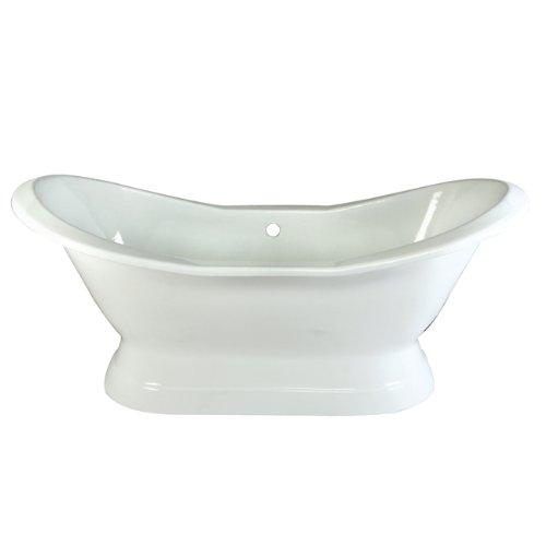 Kingston Brass Aqua Eden VCTND723130 Cast Iron Double Slipper Pedestal Bathtub without Faucet Drillings, 72-Inch, White