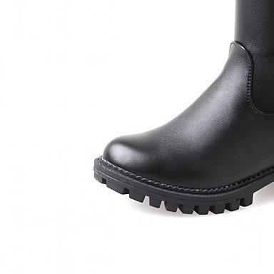 bottes DESY femme hiver pour Casual cuir hauts Noir pointe boots chaussures simili de boucle automne bottes ronde Marron carré rgq7r