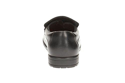 Clarks Greinton Go BL- Boys Formal School Shoe in Black Leather Black Leather