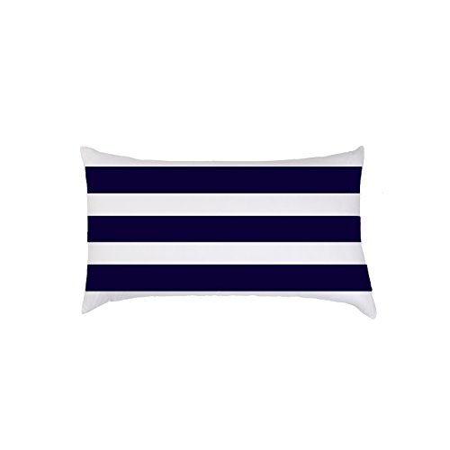 TAOSON Home Decorative Cotton Canvas Square Toss Pillowcase Cushion Cover Navy Blue Stripe Throw Pillow Case with Hidden Zipper Closure Only Cover No Insert (Navy Blue Toss Pillow)