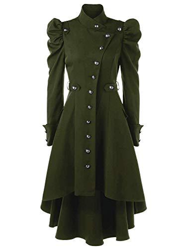 Machaon Trench BoBoLily Coat Grn Manteau Punk Fashion Femme Classic Outerwear Printemps Asymmetric Loisir Hiver Noble Spcial Style Gothique Vintage TZHTqr