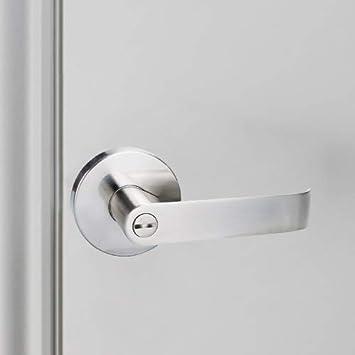 YXHTL02SNBK-NB Round Lever Door Handle Lock for Interior Door Bedroom//Bathroom Privacy Look Closet Lever Set Satin Nickel Finish