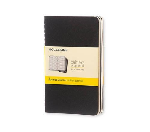 Moleskine Cahier Soft Cover Journal, Set of 3, Squared, Pocket Size (3.5