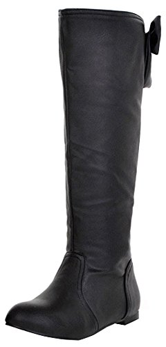 Easemax Women's Dressy Bows Round Toe Pull On Flat Heeled Knee High Booties Black wZ0dm0aB