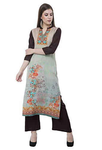 Lagi Multi Designer Women Straight Floral Printed Kurti for Women Tunic Top r 3/4 Sleeve Dress. ... (2XL,Green)