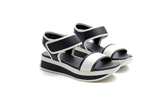 Pretty bianco 570175 Con Footbed Sportivo Nana Nero Donna Aline Pelle Sandalo UnCUrq
