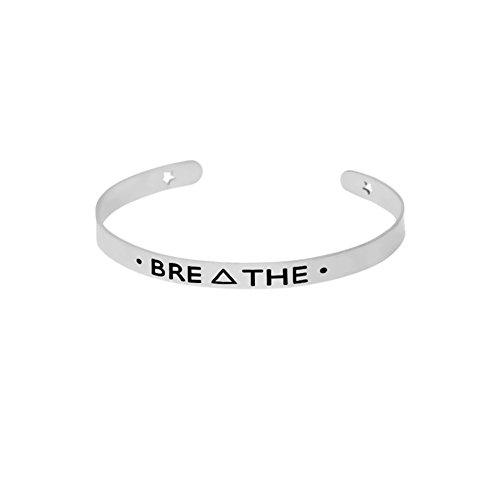 CHUYUN Vintage Inspirational Jewelry BREΔTHE Letter Cuff Bracelets Open Bangles For Women Men Jewelry (Enamel Silver Vintage Bracelets)