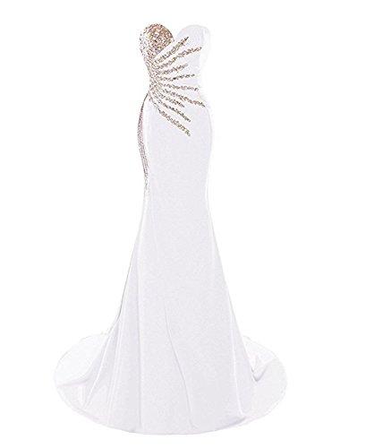 - Women's Sweetheart Rhinestones Long Mermaid Prom Evening Dresses Formal Gowns White 26