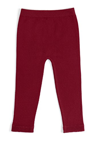 EMEM Apparel Unisex Boys Girls Baby Infant Medium Weight Seamless Cotton Full Ankle Length Leggings Cranberry 6-12 ()