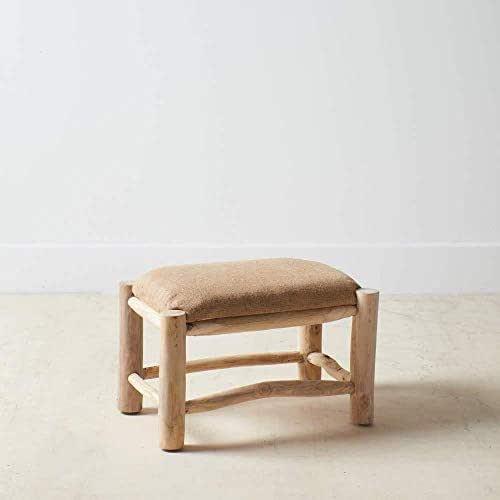 Taburete, de madera natural de teca 60x40x35 h y tela saco, h,