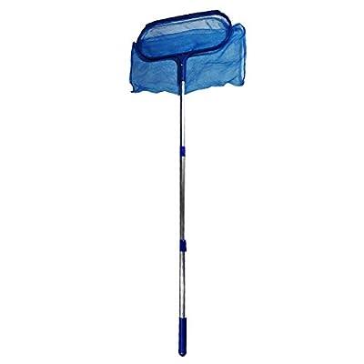 Daveyspa Swimming Pool Skimmer Net with Pole Deep Bag Net Heavy Duty Pool Leaf Rake with Deep Bag Leaf Catcher Cleaner with 4 Feet Adjustable Aluminum Telescopic Pole