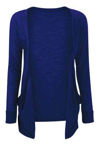 Femmes Taille royale Ouvert Jersey Bleu Boyfriend Couleur Poche asfashion Uni Plus Devant Cardigan online tqx61