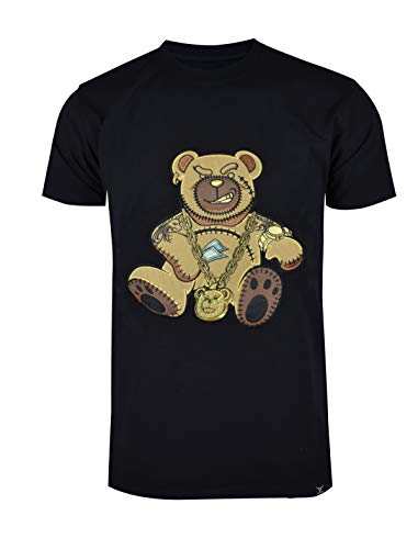 SCREENSHOTBRAND-S11910 Mens Hip-Hop Ultra Premium Tee Goldchain Teddy Bear Cartoon Print T-Shirt-Black-Large Black Bear Print T-shirt