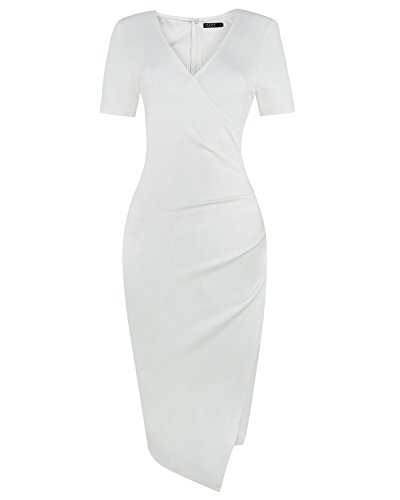 OUGES Womens Deep V-Neck Asymmetrical Fold Sheath Dress White Medium