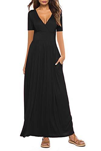 Yidarton Women Maxi Dresses Summer V Neck Short Sleeve Floral Print Wrap Long Dress with Pockets (B-Black, XL)
