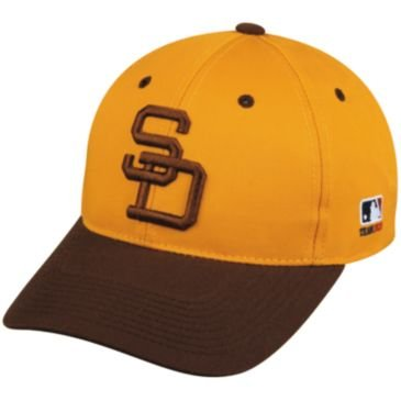 MLB Cooperstown YOUTH San Diego PADRES Gold/Brown Hat Cap Adjustable Velcro TWILL Throwback