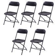 Goplus Set of 5 Plastic Folding Chairs Stackable Wedding Party Event Commercial Black