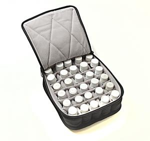 "30-Bottle Essential Oil Carrying Cases hold 5ml, 10ml and 15ml bottles - Black with Light Grey interior - 3"" high"