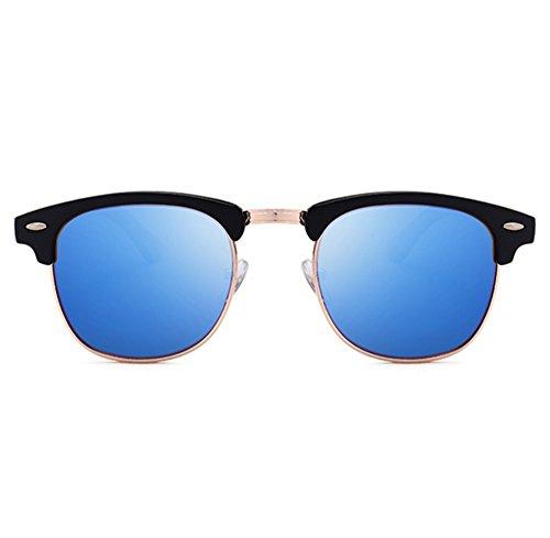 de polarisées Retro Lunettes en Hellomiko bois soleil de Noir de conduite bambou Demi Lentille Classique Bleu Lunettes Cadre 400qFxP