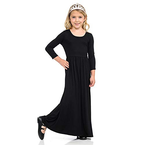 eb09e797a luyusbaby Girls Long Holiday Dress with Pockets Short Sleeve Stripe ...