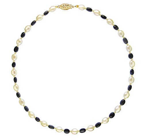 Strand Necklace White Freshwater Cultured Pearl 7-7.5mm with 6x9mm Simulated Blue Sapphire and Gold Beads 14k Yellow Gold