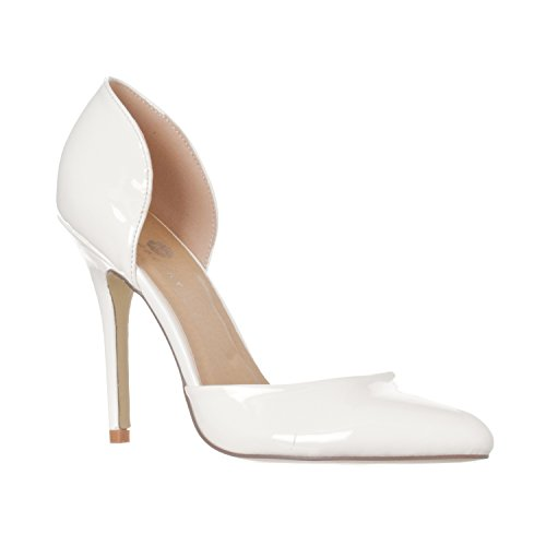 Slip Pump Heels Women's Riverberry Pointed Toe On Patent Nora D'Orsay White wxTUOpqBI