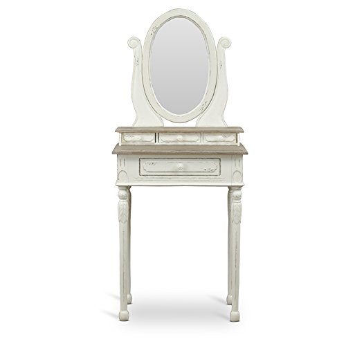Baxton Studio Anjou Traditional French Accent Dressing Table with Mirror, White
