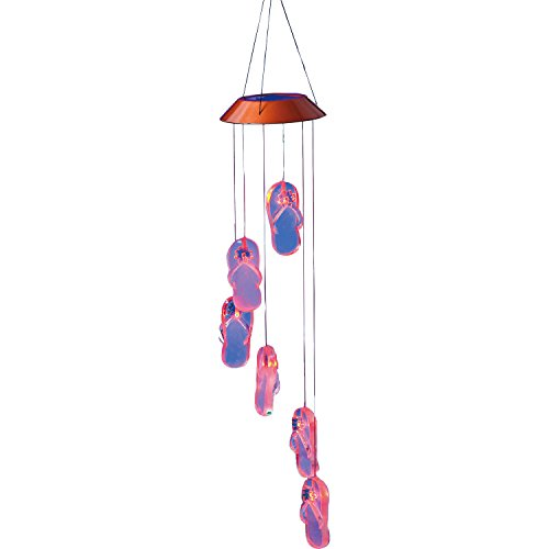 "Evergreen Garden Get Beachy With It Flip-Flops Color-Changing Plastic Solar Powered Outdoor Mobile Wind Chime - 5""W x 5""D x 26.5""H"