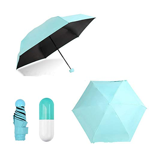 0.5lb / 7inch Ultra Light Mini Anti-UV Umbrella with Capsule Case, Compact...
