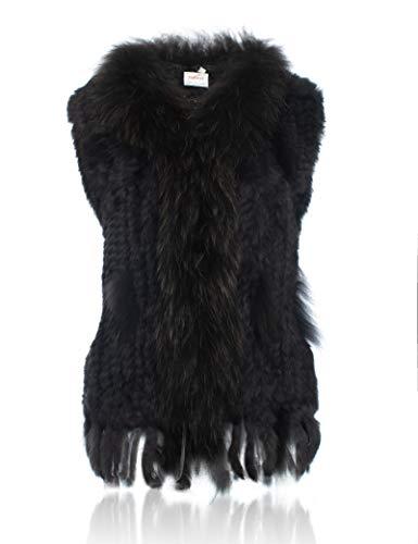 HEIZZI 100% de Fourrure de Lapin Veste avec col Raccoon tricote lgant Soft Fonte Grise