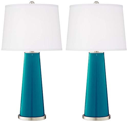 Leo Modern Table Lamps Set of 2 Turquoise Blue Metallic Glass Tapered Column Plain White Drum Shade for Living Room ()