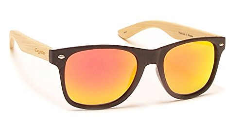 150ec50a9e Coyote Eyewear Woodie anteojos de Sol polarizados con sienes de Madera  Natural, Negro/bambú