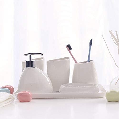FXin バスルームアクセサリーセット、セラミックバスルームセット6セットのシンプルなバスルームトイレタリーパーソナルケア、ホテルのギフトの家の装飾に適して シャワー室