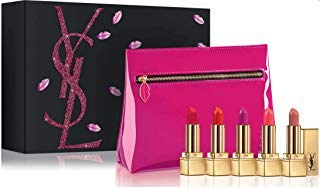 Yves Saint Laurent Rouge Pur Couture Mini Lipstick Collection - 5 Travel + Cosmetic Bag (Best Lipstick For Over 60)